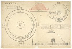 Plan, elevation and section of large stupa with notes, Sanchi